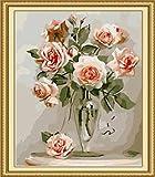 ZXDA Frameless DIY Pintura por números Kit de Flores Pintura acrílica por números Pintura en Lienzo para decoración del hogar Regalo A19 50x65cm