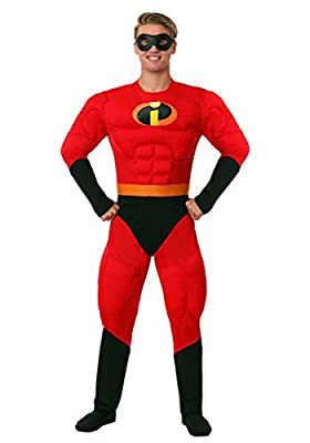 Disguise Unisex Adult Deluxe Muscle Mr Incredible, Multi, X-Large (42-46) Costume from Disguise Costumes