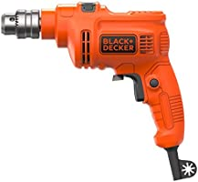 Black+Decker 550W 10mm Corded Electric Hammer Percussion Drill for Metal, Concrete & Wood Drilling, Orange/Black -...