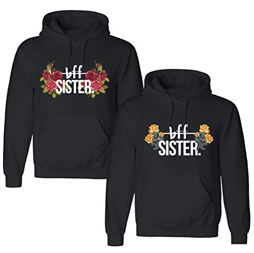 Best Friends Pullover für Zwei Mädchen 1 Stück BFF Pullover Beste Freunde Hoodie für 2 Sister Freundin Schwester Damen Pulli Geschenke (1 Stück - Rot Rose - Schwarz Hoodie, M)
