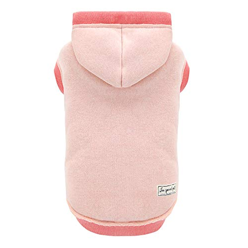 Pet Clothes Dog Hoodie Soft & Warm Cotton Sweatshirt Dog Hooded Shirts for Small and Medium Dogs French Bulldog, Pink