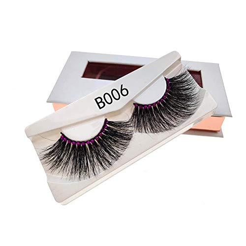3 paires de faux cils avec diamants rose 25 mm Cils épais naturel Wispy Maquillage volume 3D cheveux doux faux cils