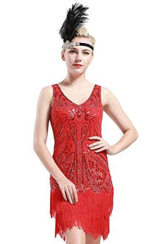 BABEYOND BABEYOND Damen Retro 1920er Stil Flapper Kleider mit Zwei Schichten Troddel V Ausschnitt Great Gatsby Motto Party Kostüm Kleider- Gr. S (Fits 74-84 cm Waist & 92-102 cm Hips), Rot