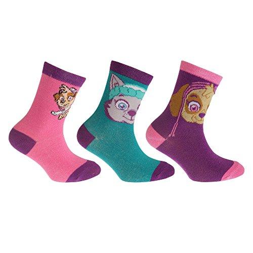 Paw Patrol - Calcetines ricos en algodón para niñas (paquete de 3) (23-26/Azul/rosa/lila)