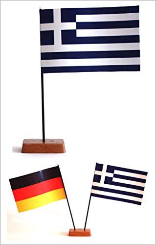 Buddel-Bini Tischflagge Griechenland und Deutschland 90x140 mm mit Ständer aus Holz, Gesamthöhe ca. 20 cm Tisch Flagge Fahne