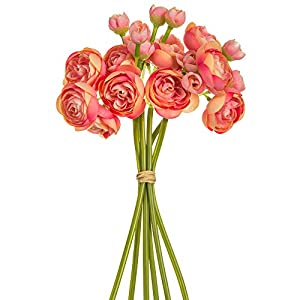 SilksAreForever 10″ Silk Mini Ranunculus Flower Stem Bundle -Coral/Pink (Pack of 12)
