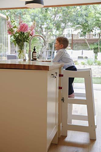Torre de Aprendizaje Montessori para niños con altura ajustable y barra de seguridad (madera maciza) blanco blanco (Producto para bebé)