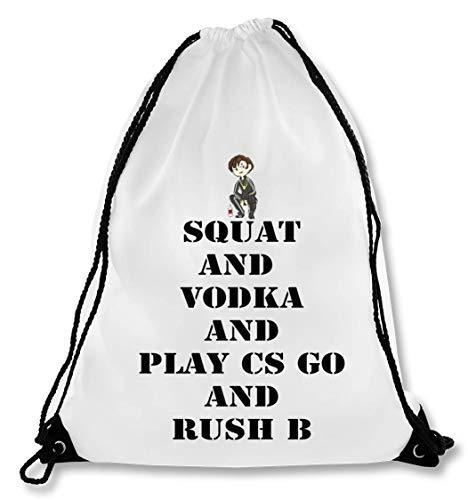 Squat and Vodka and Play CS GO and Rush B Bolsa con cordón