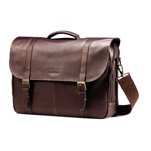 Samsonite Columbian Leather flapover case, Brown