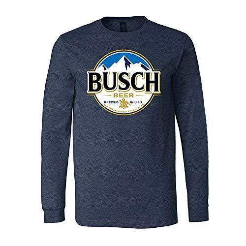 Busch Bier-rundes Logo der Männer lange Hülsen-Shirt Großes Blau