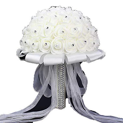 Bouquet da sposa, con fiori di cristallo e rose, perle per damigella d'onore, bouquet da sposa in seta artificiale, Xf10, Etichettalia unica