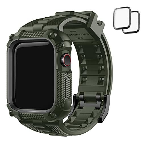 Fullmosa Correa, Compatible para el Apple Watch con Protector de 44 mm, 40mm, Correa Resistente con Protector de pantalla para los modelos iWatch 6/5/4 / SE Series, - (Verde Oscuro, 44mm)
