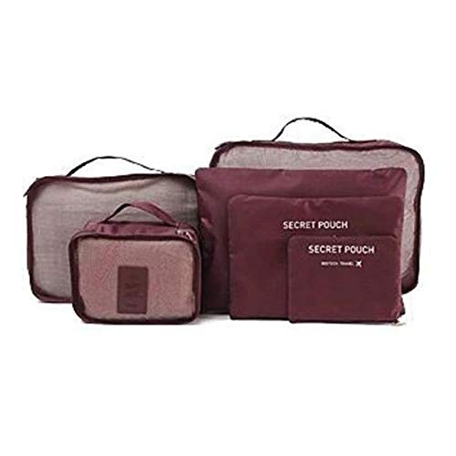 Wine Red 6pcs Waterproof Travel Clothes Storage Bags Luggage Organizer Pouch Packing Case L9be