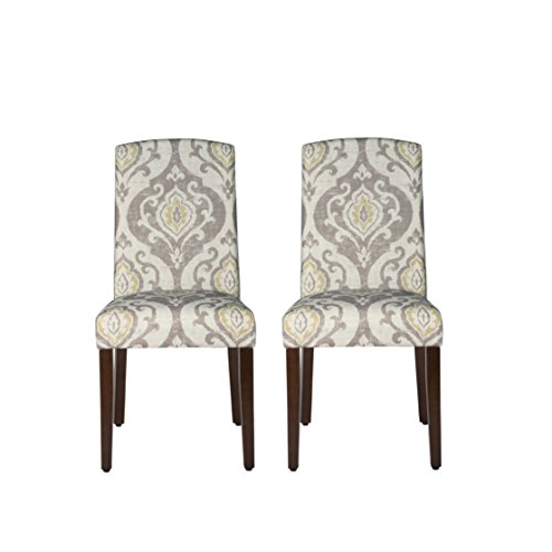 HomePop Parsons Classic Upholstered Accent Dining Chair with Curved Top, Set of 2, Suri Brown