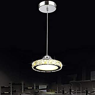 Dining Room Chandelier LED Crystal Round Chandelier Single Head Living Room bar Chandelier (White Light)