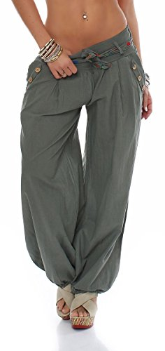 Malito Pantaloni alla Zuava Classico Design Boyfriend Aladin Harem Pantaloni Sbuffo Pantaloni Pump Baggy Yoga 3417 Donna Taglia Unica (Oliva)