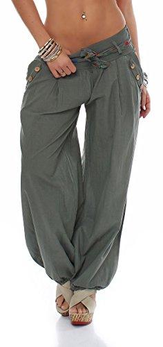 Malito Damen Pumphose in Unifarben | leichte Stoffhose | super Freizeithose für den Strand | Haremshose - lässig 3417 (Oliv)