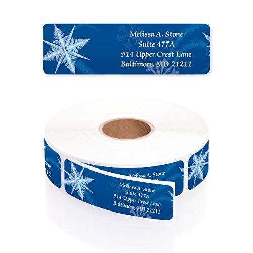 Whirling Snowflakes Designer Rolled Address Labels with Elegant Plastic Dispenser