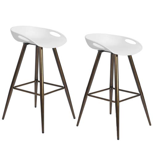 Set of 2 Bar Stools, 32.3-inch Simple Modern Style High Counter Stool with Low Backrest & Footrest & Metal Legs & PP Seat, Portable Barstools for Kitchen Island Patio Balcony, White & Bronze