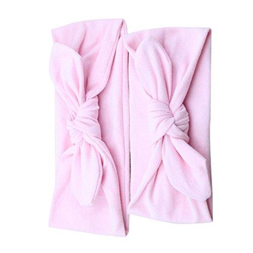 Lidahaotin 2pcs / Set Mom Baby-Kaninchen-Ohr-Stirnband Eltern Kind Bowknot Haarreif Turban-Knoten Elastische Kopfbedeckung Haarband Rosa