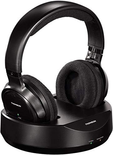 Thomson kabelloser Funk-Kopfhörer mit Ladestation (Over-Ear-Kopfhörer für Fernseher/TV, schnurloser Kopfhörer mit Reichweite 100 m, 863 MHz, PLL-System) Schwarz