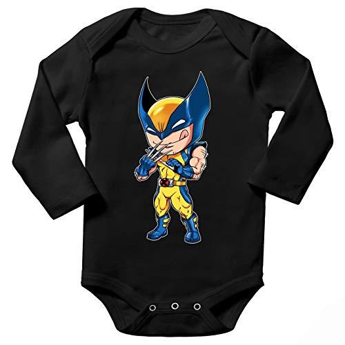 Okiwoki Body bébé Manches Longues Noir Parodie Wolverine - Logan aka Wolverine - des Griffes Bien acérées.(Body bébé de qualité supérieure de Taille 12 Mois - imprimé en France)