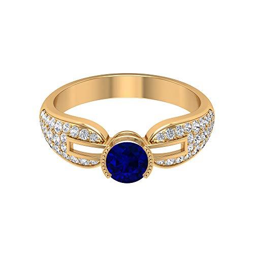 Piedra de nacimiento de septiembre - Anillo solitario de zafiro azul de 5,00 mm, anillo de diamante HI-SI, anillo vintage de oro (calidad AAA), 14K Oro amarillo, Size:EU 67