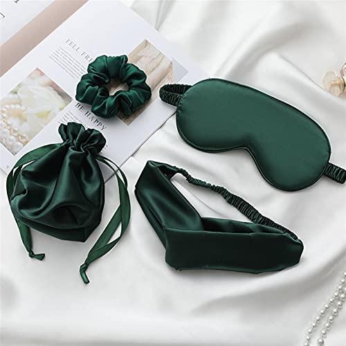 Aetygh Máscara de Ojos para Dormir de Seda con Diadema, Anillo de Pelo y Bolsa de Regalo, sombreado de Viaje con los Ojos con Venda Transpirable cómodo para Las Mujeres (4pcs) (Size : Green)