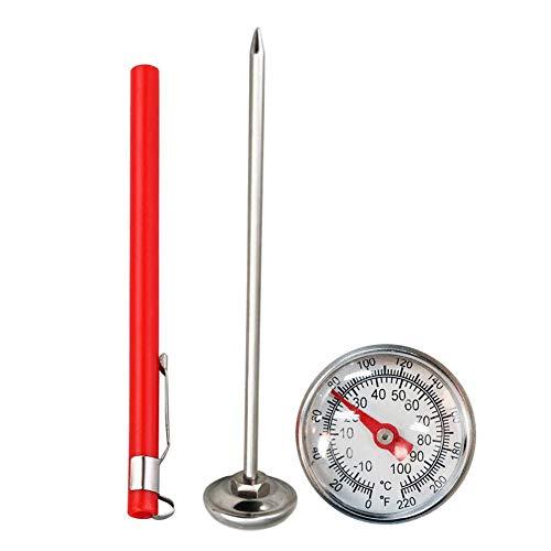 Seasaleshop Bodentester Erdbodenthermometer, Rostfreier Stahl 127mm Stiel Einfach zu lesende 27mm-Anzeige 0-100 Grad Celsius Bodentemperatur Thermometer für Bodenkompost Garten Bodentester.