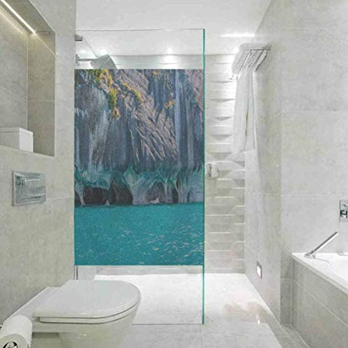 Decorative Window Stickers Paste, Turquoise Marble Caves of Lake General Carrera Chile South Americ, Easy to Install and Reuse Glass Film, 17.7