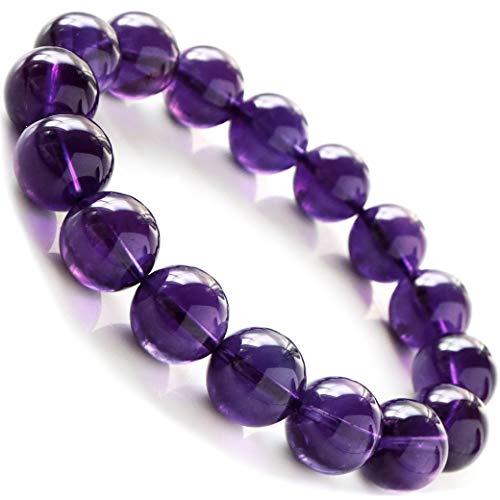 アメジスト ブレスレット 天然石 パワーストーン 2月 誕生石 12mm ウルグアイ産 ディープパープル 紫水晶