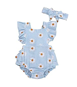 Baby Girls Daisy Playsuits Ruffled Bodysuit+Headband Print Fly Sleeve Romper Floral Jumpsuit Infant Summer Clothes Blue