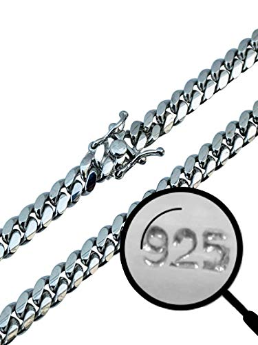 Real Solid 925 Sterling Silver Miami Cuban Chain - Heavy Men s 6mm Box Lock Cuban Chain - 18-30  Made In Italy (24)