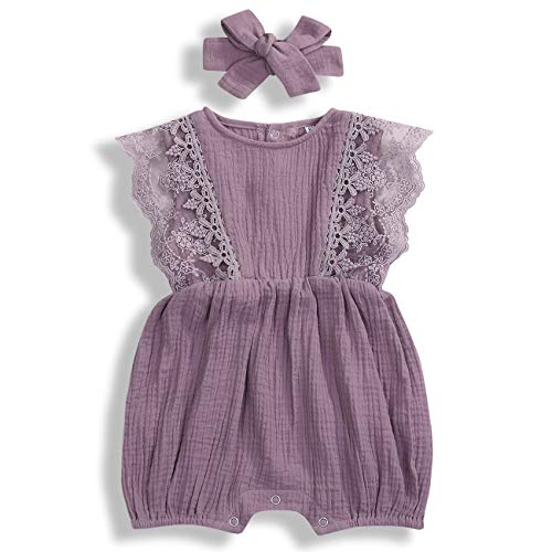 KCSLLCA Baby Girls Lace Romper Set Ruffle Sleeve Solid Color Onesie with Headband (Purple, 9-12 Months)