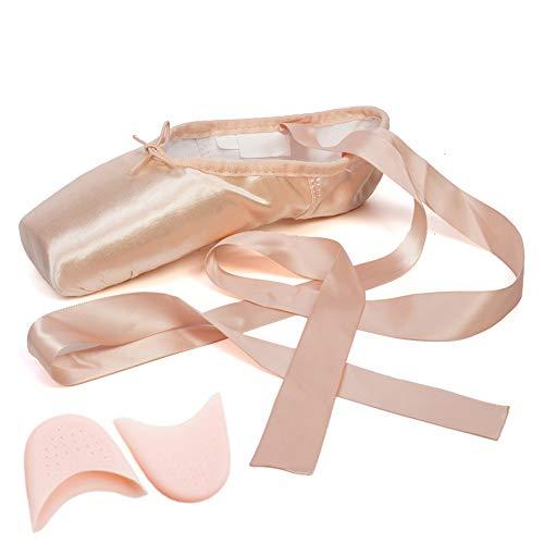 JUODVMP Zapatos de Danza de Punta Suave Zapatillas de Ballet con Puntera de Gel de Silicona y Cintas para Mujeres y Niñas,Modelo TJ-ZJBL,Rosado,35EU
