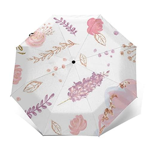 Paraguas compacto de viaje a prueba de viento paraguas rosa brillante floral bailarina vestido de color marrón pelo x pulgadas reforzado toldo auto abierto y cierre botón