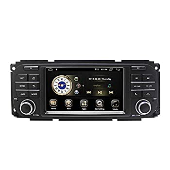 Car Stereo Radio in Dash Navigation for Jeep Grand Cherokee Dodge RAM Sebring,5 inch Touchscreen Android 10.0 Single Din Bluetooth with Rear View Camera,3.5mm Mic