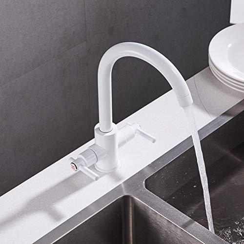 BFLO Kraan Witte kleur Keukenkranen Dubbele handen Ronde wastafels Wandkranen Dubbelgatmengkraan Waterkraan
