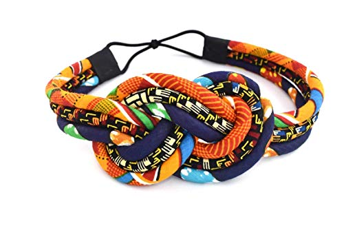 Orange Kente Knotted Headband – African Headband | kente print headband | Kente cloth headband | Orange and Blue Kente | Afrocentric headband | Cloth & Cord
