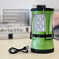 LE LED Camping Lantern with 2 Detachable Torches, USB Rechargeable and Battery Operated, 600 Lumen Tent Light, Outdoor…