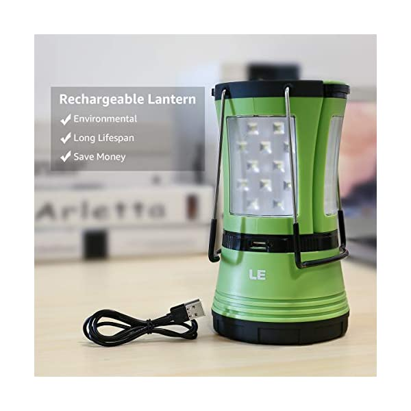 LE LED Camping Lantern with 2 Detachable Torches, USB Rechargeable and Battery Operated, 600 Lumen Tent Light, Outdoor… 1