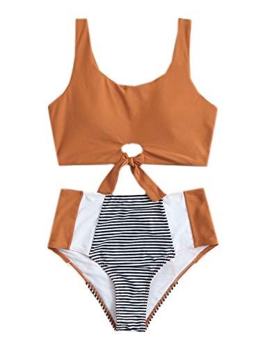 SheIn Damen Colorblock Gestreifter Knoten Saum Kabelloser Badeanzug Hohe Taille Bikini-Set - Orange - Large