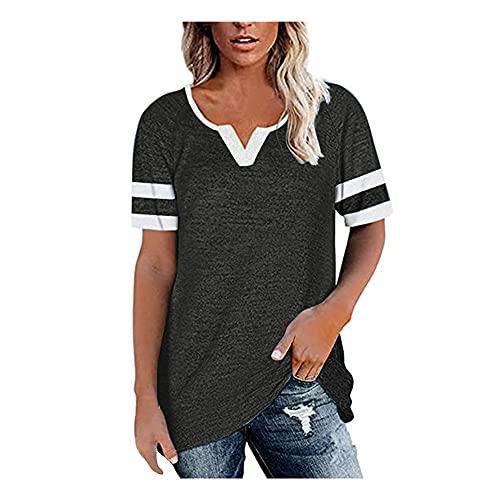 Camiseta Mujer Tops Mujer Cómodo Casual Sexy con Cuello En V Raya Empalme Manga Corta Vacaciones Verano Moda Suelta Linda Nueva Mujer Blusa Mujer Camisa B-Dark Grey XXL