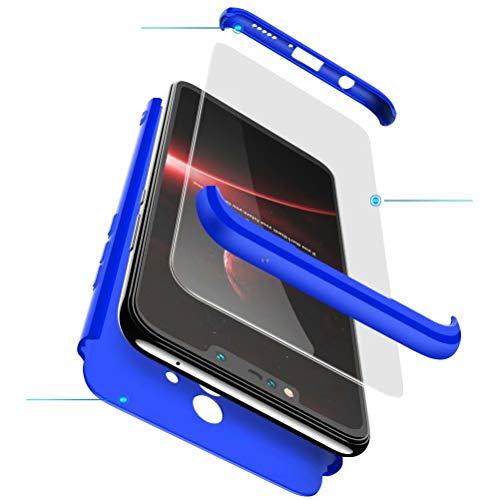 xinyunew Funda Compatible con Huawei Y6 2018/Honor 7A,360 Grados Protección Case + Pantalla de Cristal Templado,3 in 1 Anti-Arañazos Carcasa Case Caso Fundas teléfonos Móviles para - Azul