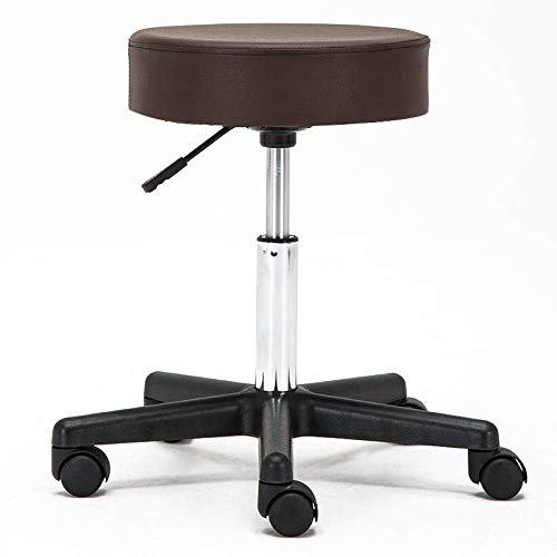 Sillones Nubao Ajustable Taburete de oficina con ruedas, pedicura Taburete con asiento Negro PU cuero sintético, Altura ajustable 45-58 cm, peso 160 Kg soportados, salón de peluquería de corte Stoolfo
