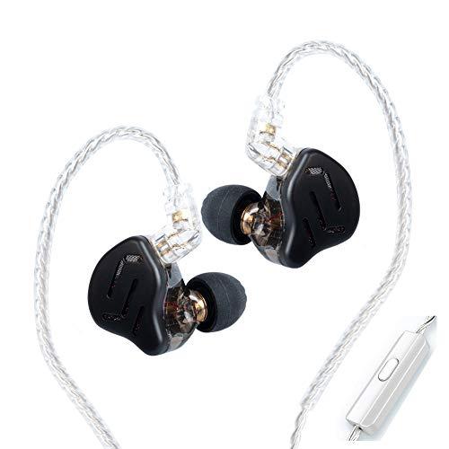 KZ Zax 1DD 7BA - Auricolari HiFi in Ear Monitor, driver ibridi in metallo con cavo staccabile per cuffie (con microfono, nero)