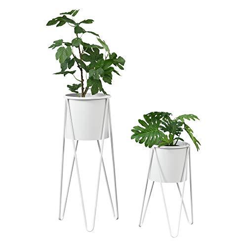 [en.casa] Pflanzständer im 2er Set Blumenständer aus Metall Blumentopf Ständer mit Übertopf Blumentopfhalter 2-TLG. Pflanztopf Deko Weiß