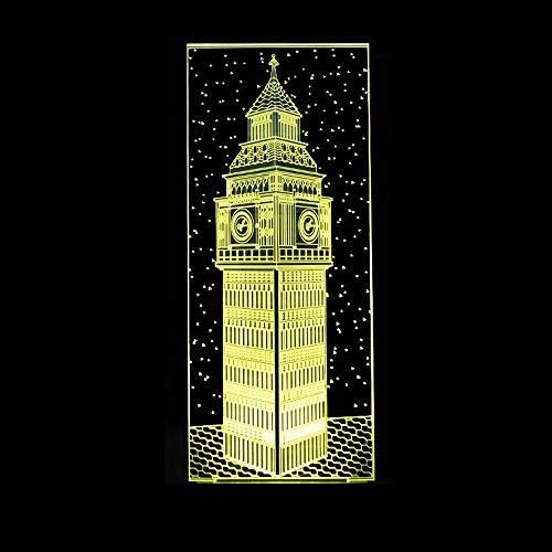 3D noche 3D Big Ben luz nocturna visual colorida de Londres edificios Elizabeth Torre lámpara de mesa dormitorio decoración cama bebé iluminación regalo para niños