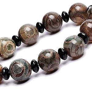 chaosong shop Natürliches Amulett grün tibetisches 3 Augen Dzi Perlen Armband Fengshui Reichtum Armband positive Energie und Glück bringen kann Glück bringen