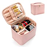 Pink Makeup Bag Travel Small Cosmetic Bag Makeup Case Organizer Large Capacity Foldable Vertically Storage with Divider and Handle for Cosmetics Toiletries Brushes Tools -Pink